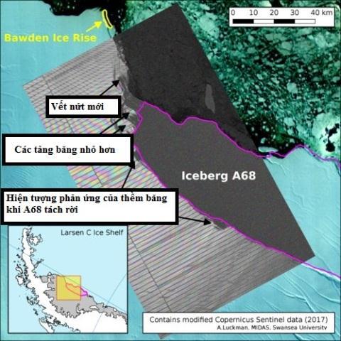 Thấy vết nứt mới ngay chỗ tách rời tảng băng 6.000km2
