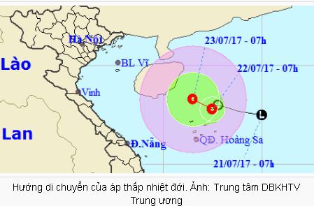 Áp thấp nhiệt đới gây gió giật cấp 7-8