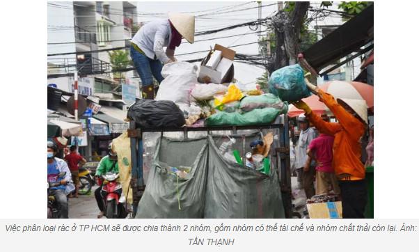 TP HCM đổi cách phân loại rác